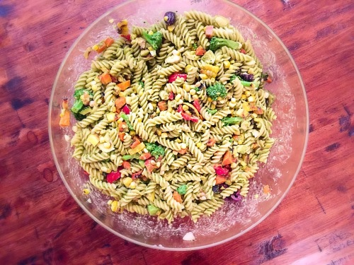 Grilled Summer Veggie Pesto Pasta Salad