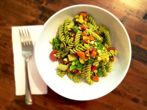 Grilled Summer Vegetable Pesto Pasta Salad