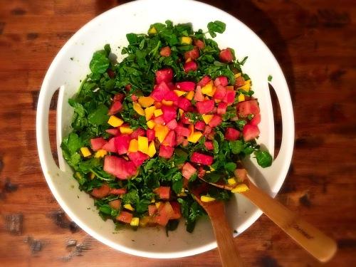 Watermelon Mango Watercress Salad