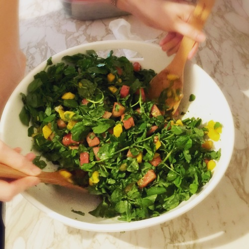 Watermelon Mango Watercress Salad - a delicious mix of peppery greens, sweet fruit, and a tangy vinaigrette, tossed into a delicious, refreshing, colorful salad.