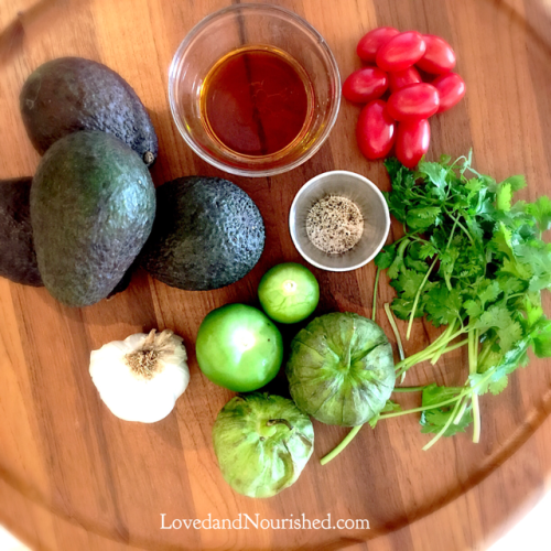 Tomatillo Guacamole - all the ingredients you need to make this delicious, tangy guacamole!
